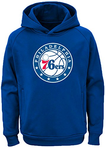 Outerstuff NBA Youth Team Color Performance Primary Logo Pullover Sweatshirt Hoodie (Large 14/16, Philadelphia 76ers) ()