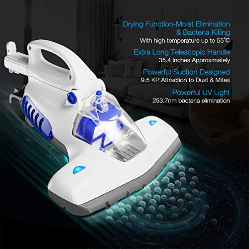 Housmile Bed Vacuum Cleaner Upgraded 400ml Handheld UV Vacuum Cleaner with 12Kpa Powerful Suction and Concealed Telescopic Handle Effectively Clean up Mattresses Pillows Sofas