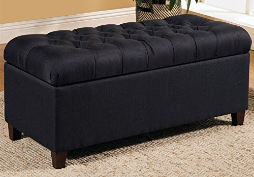 1PerfectChoice Accent Upholstered Tufted Seat Storage Bench Ottoman Navy  Blue