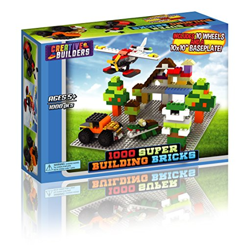 Jet Basic Unit (1000 Building Bricks Lego Compatible - Kids Toys, Safe - Includes 10 Wheels and Brick Removing Tool - By Creative Builders)