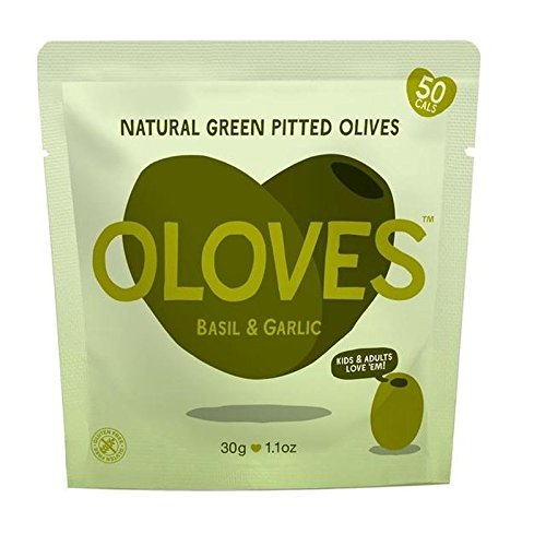 Oloves Basil & Garlic Marinated Pitted Green Olives 30g by Oloves