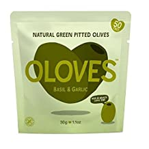 Oloves Basil & Garlic Marinated Pitted Green Olives 30g - Pack of 2