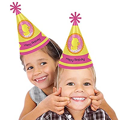 Pink Ducky Duck - Cone Happy Birthday Party Hats for Kids and Adults - Set of 8 (Standard Size): Toys & Games