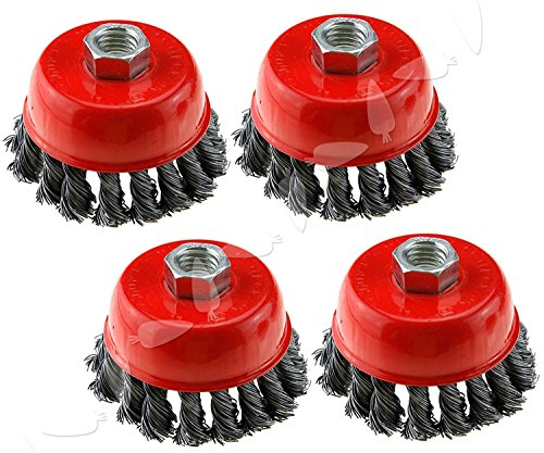 4-Inch (20 Pieces) Twist Knot Carbon Steel Wire Cup Brush rust paints corrosion remove burnishing wheel fits Dewalt Roxx Tools Makita Metabo 5/8-11 grinder polisher