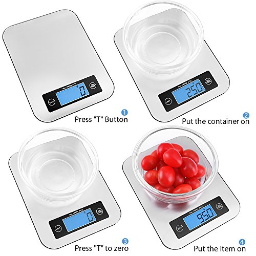 Digital Kitchen Scale Food Scales, TOBOX Postage Scale Multifunction Stainless Steel Accuracy with LCD Display and Tare Function for Baking and Cooking (Sliver) by TOBOX (Image #3)