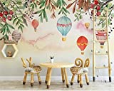 BZDHWWH Photo Wallpaper For Walls 3 D Hand Painted Nordic Hd Floral Hot Air Balloon Children'S Room Background Wall Wallpaper,50Cm (H) X 70Cm (W)