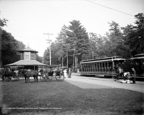 - 1908 Saratoga Race Track New York Trolley Horse Photograph- Reprint 8x10