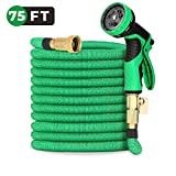 "Yiiyaa Garden Hose-75ft Expandable Water Hose with Solid Brass Connectors,3/4"" Solid Brass Fitting, Extra Strength Fabric and Double Latex Core, Flexible Water Hose with 9-Way Spray Nozzle-Green"