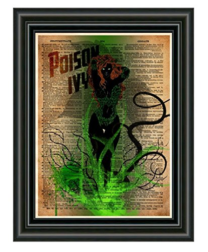 Poison Ivy art print, splatter art, superhero decor,cool pop art, vintage dictionary art print