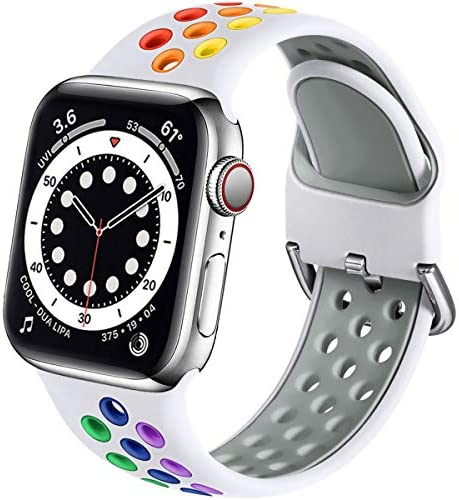 Muranne Compatible with Apple Watch Band 40mm 38mm iWatch SE & Series 6 5 4 3 2 1 for Women Men, Stylish Durable Breathable Soft Silicone Sport Watch Band, White/Rainbow, S/M