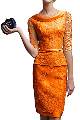 orange lace cocktail dress - 9