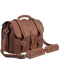 Polare Men's Top Quality Full Grain Leather Briefcase / Shoulder Bag / Messenger Bag / Satchel Fit 17'' Laptop (Light Brown)