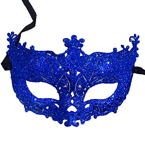 Women Secy Lace Mask Cosplay Eye Mask Carnival Fancy Mardi Hollow Out Halloween Evening Party Prom Masquerade Mask for Halloween Retro Cover Cosplay Headdress (Blue)]()