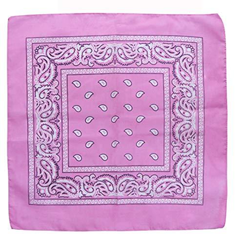 Charlotte 12Pcs Bandanas 100% Cotton Paisley Print Head Wrap Wristband (Pink) ()