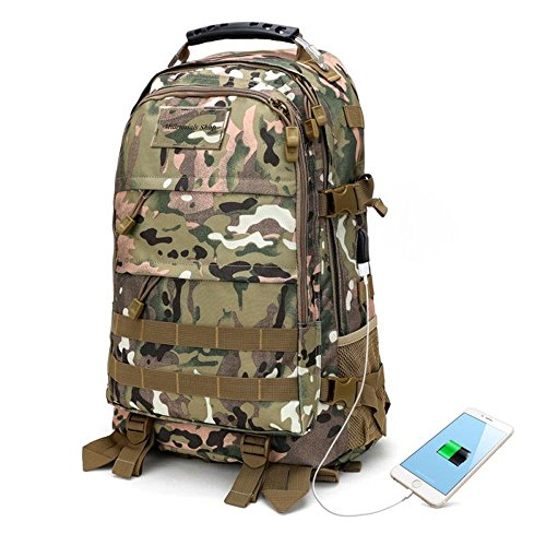 Canvas Buckled Body Bag - Tactical Outdoor Camo Smart Backpack - Multipurpose Lightweight USB Charging Anti-Theft Army Bag Molle Rucksack Hiking, Hunting, Survival, Camping, School, Travel Men, Women, Kids