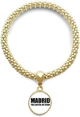 DIYthinker Cadena de joyería de Madrid la Capital de España de Oro Pendiente Redondo de Pulsera: Amazon.es: Joyería