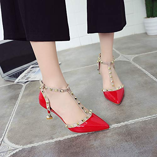 With Stiletto High Pointed heels Autumn Heel Shallow High Single Shoes Nude Color Shoes Yukun 39 Red Cat Red Patent Sandals Leather Rivets Girl qva5xwYd