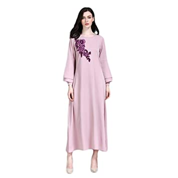 d9aa3fc68547d Amazon.com  Muslim Dress Dubai Kaftan for Women Long Sleeve Arabic ...