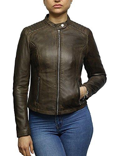 mujer para Brandslock Chaqueta Cuero biker de de cuero calidad encerado superior de cordero BwqXFqf