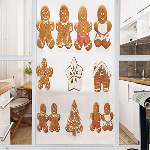 Decorative Window Film,No Glue Frosted Privacy Film,Stained Glass Door Film,Vivid Cute Christmas Gingerbread Biscuits Set Snowflake House Tree Decorative,for Home & Office,23.6In. by 59In Light Brown
