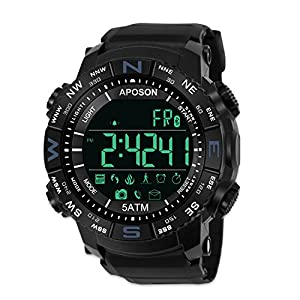 amazon com men sports smart bluetooth watch pedometer calories men sports smart bluetooth watch pedometer calories waterproof led digital watch fitness running bracelet chronograph 50m waterproof wristwatches fashion