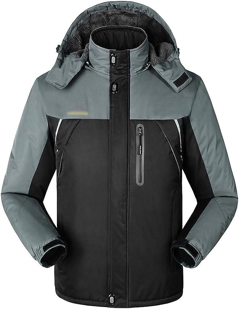 YuanDiann Homme Winter Outdoor Veste De Randonn/ée Imperm/éable Grande Taille Chaud Coupe Vent Doubl/é Polaire Blouson De Ski Alpinisme Trekking Technique Coupe Pluie Manteau