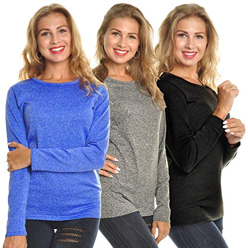 Angelina Women's Fleece Lined Long Sleeve Thermal Top,Marled,Medium (Pack 3)