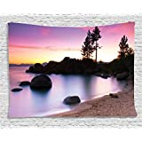 Ambesonne Lake House Decor Collection, Golden Sandy Beach by the River with Fairy Sky Light Relax Simple Life Art Photo, Bedroom Living Room Dorm Wall Hanging Tapestry, 60 X 40 Inches, Purple Cream