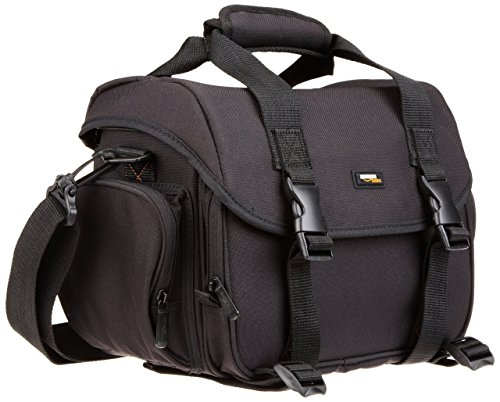 AmazonBasics Large DSLR Camera Gadget Bag – 11.5 x 6 x 8 Inches, Black And Orange