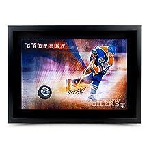 Wayne Gretzky Autographed 16X24 Photo Puck Slap Shot Breaking Through Oilers - Upper Deck Certified - Autographed NHL Photos