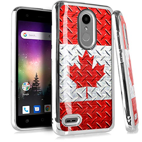 (Compatible LG Aristo 2 X210 | Tribute Dynasty | K8 (2018) | Fortune 2 | Zone 4 | Risio 3 Case Electroplated Chrome TPU Brushed Textured Hybrid Phone Cover (Canada Flag Crosshatch))