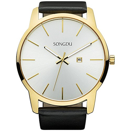 (SONGDU Big Face Men's Gold Analog Date Stainless Steel Black Leather Strap Wrist Watch)