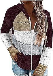 Kookmean Sweatshirts for Women Zipper, Women's Long Sleeve Knit Zip Up Hoodie Jacket Lightweight Color Blo