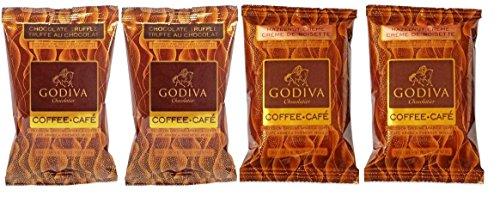 Godiva Chocolatier Flavored Coffee 2 Flavor Variety Sampler Bundle: (2) Godiva Hazelnut Creme, and (2) Godiva Chocolate Truffle, 2 Oz. Ea