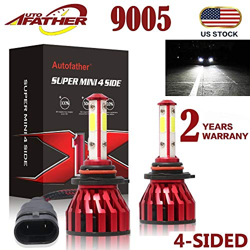 2Pcs 9005 LED Headlight Bulbs Conversion Kit HB3/H10 Car Headlamp Bulbs 20000LM 6000K Cool White Hi/Lo Beam DRL Fog Light Replace for Halogen HID, with 4-Side Chips - Plug and Play