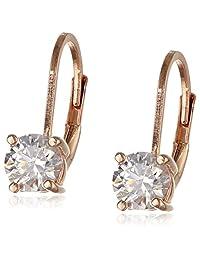 Platinum-Plated Sterling Silver Swarovski Zirconia Leverback Earrings