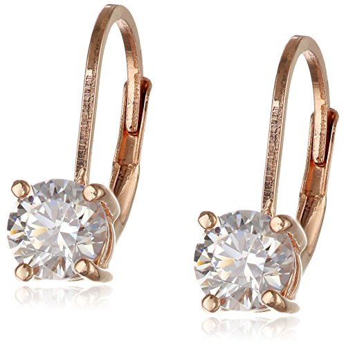 (Rose Gold Plated Sterling Silver Lever back Earrings set with Round Swarovski Zirconia (1 cttw))