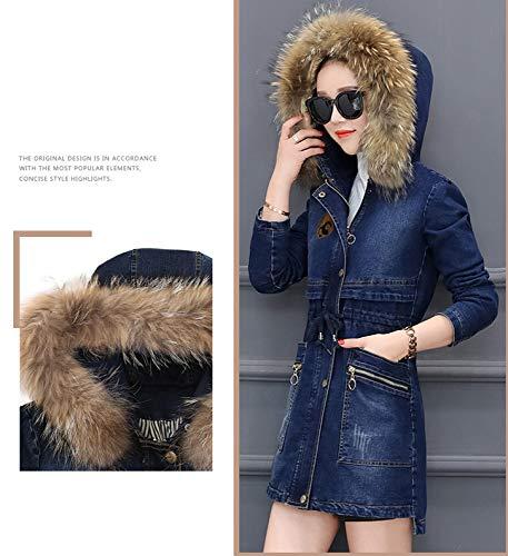 Bleu En Hiver Capuchon D'hiver Atr À Porter Veste Que Long Femelle Jean Ainsi Épais Manteau Coton De Velours 5T5wSnqI