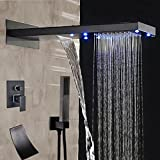 Votamuta Modern Oil Rubbed Bronze LED Color Rainfall Waterfall Shower Head Faucet Set Bathroom Single Handle Mixer Valve Diverter with Waterfall Tub Spout And Handheld Spray