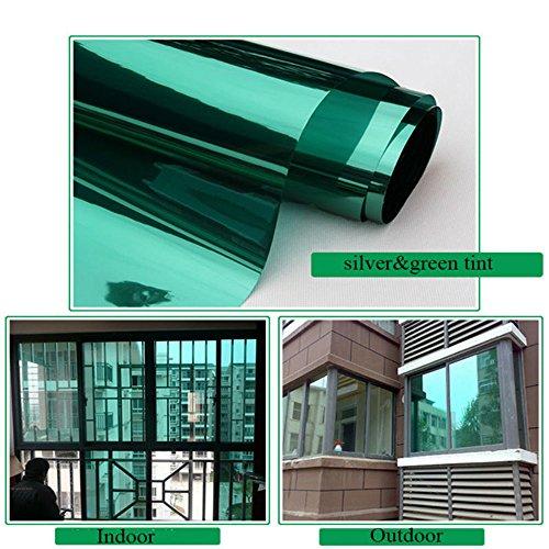 HOHO Window Film Vinyl Solar Tint Privacy Sun Block High Reflective Mirror Stickers,Green Silver,35.4''x1181.1'' by HOHO