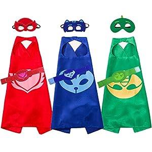Kids Favor Cartoon Cape and Mask With Bracelet Costume Sets For Catboy Owlette Gekko Dress Up