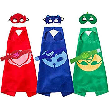 Yostra Kids Cartoon Cape Mask With Bracelet Costume For Catboy Owlette Gekko Dress Up