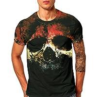 ZOMUSAR Mens t Shirts Graphic, Skull 3D Printed T-Shirt Polo Shirts Hip Hop Tops Cool Blouse