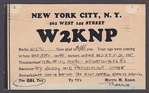 W2KNP Morris Rosen 562 West 144 St New York City NY QSL postcard 1939