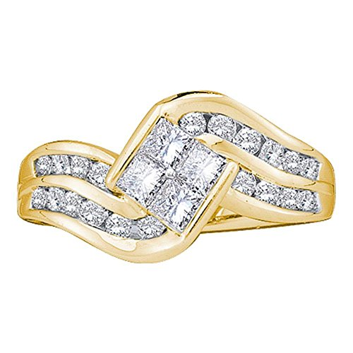 - 14kt Yellow Gold Womens Princess Diamond Contoured Cluster Ring 1.00 Cttw