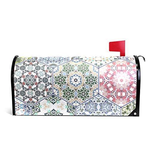 senya Home Garden Hexagon Floral Pattern Magnetic Mailbox Cover (Large Hexagon Post)