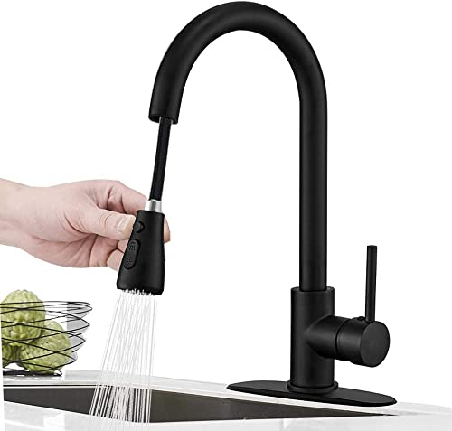 Hoimpro Commercial High-Arc Single Handle Kitchen Sink Faucet With Pull Out Sprayer,Rv kitchen Faucet With Pull Down Sprayer,3 Function Touch on Laundry Water Faucet, Brass Matte Black 1 or 3 Hole