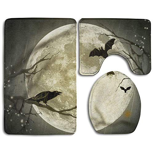CCBUTBA Halloween Moon Design 3 Piece Non-Slip Bathroom Rugs Set Living Room Anti-Skid Pads Bath Mat + U Shaped Contour Rug + Toilet Lid Cover