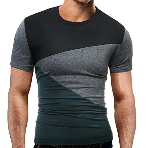 Ecurson Men Summer Fashion O Neck Pullover Men's Short-sleeved T Shirt (M, Dark Grey)