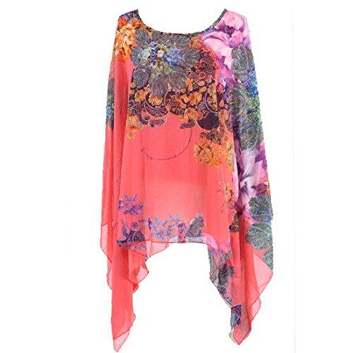 QIYUN.Z Gasa Irregular Dobladillo Asimetrico Floral Manga Kimono De Impresion Blusa Camiseta Sandia Roja